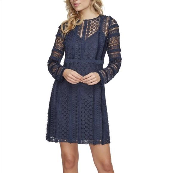 de3312364604e Sam Edelman size 14 navy lace shift dress NWT